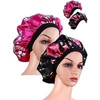2 Pièces Large Bande Bonnet en Satin Bonnet de Sommeil Doux Chapeau de Sommeil de Nuit pour les Femmes et les Filles