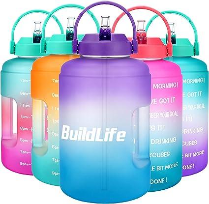 Time Marker /& Flip Lid,BPA Free Leak-Proof Reusable Sports Gym Fitness Outdoor 128 OZ BuildLife Motivational Gallon Water Bottle