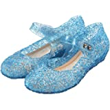 GUGUYeah Frozen Inspired Elsa Costumes Flats Shoes, Snow Queen Princess Birthday Sandals for Little Girls, Toddler or…