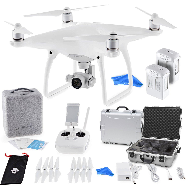 DJI Phantom 4クアッドコプターwith 4 Kカメラ(送信機付属 – 究極のバンドルwith DJIアルミケース+ DJI 100 W 5350 mAhインテリジェントフライトバッテリー+ digitalandmore Droneクリーニングクロス B079RQBXH2