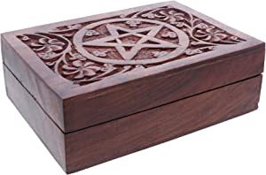 Li'Shay Wood Treasure Trinket Box with Handcarved Star