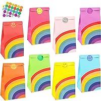 LovesTown 48Pcs Rainbow Paper Gift Bags,8 colour Rainbow Party Bag Rainbow Gift Bag Birthday Gifts and Party Favors…