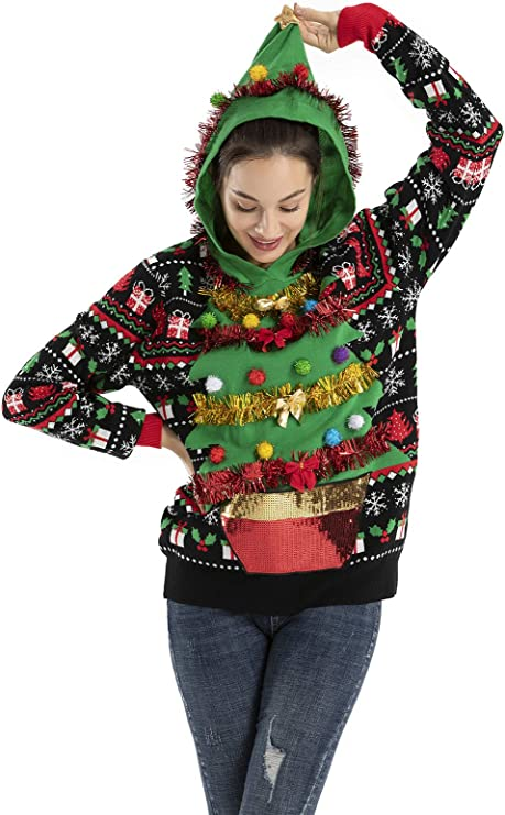 OFF THE RACK Women's Ugly Christmas Sweater Funny Fluffy Xmas Sweater Top Tacky Christmas Sweaters for Parties