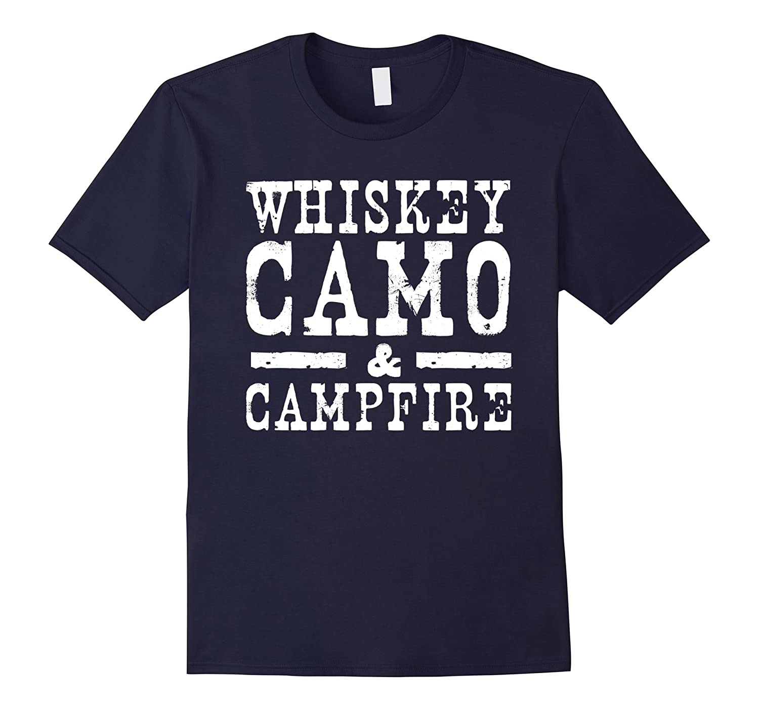 Whiskey Camo and Campfire Drinking Camping T-Shirt-FL