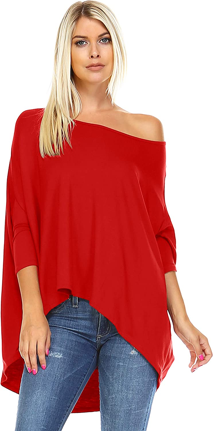 Isaac Liev Women's Tunic Top – Casual 3/4 Batwing Dolman Sleeve Off Shoulder Baggy Oversized Loose Fit Flowy T Shirt Blouse