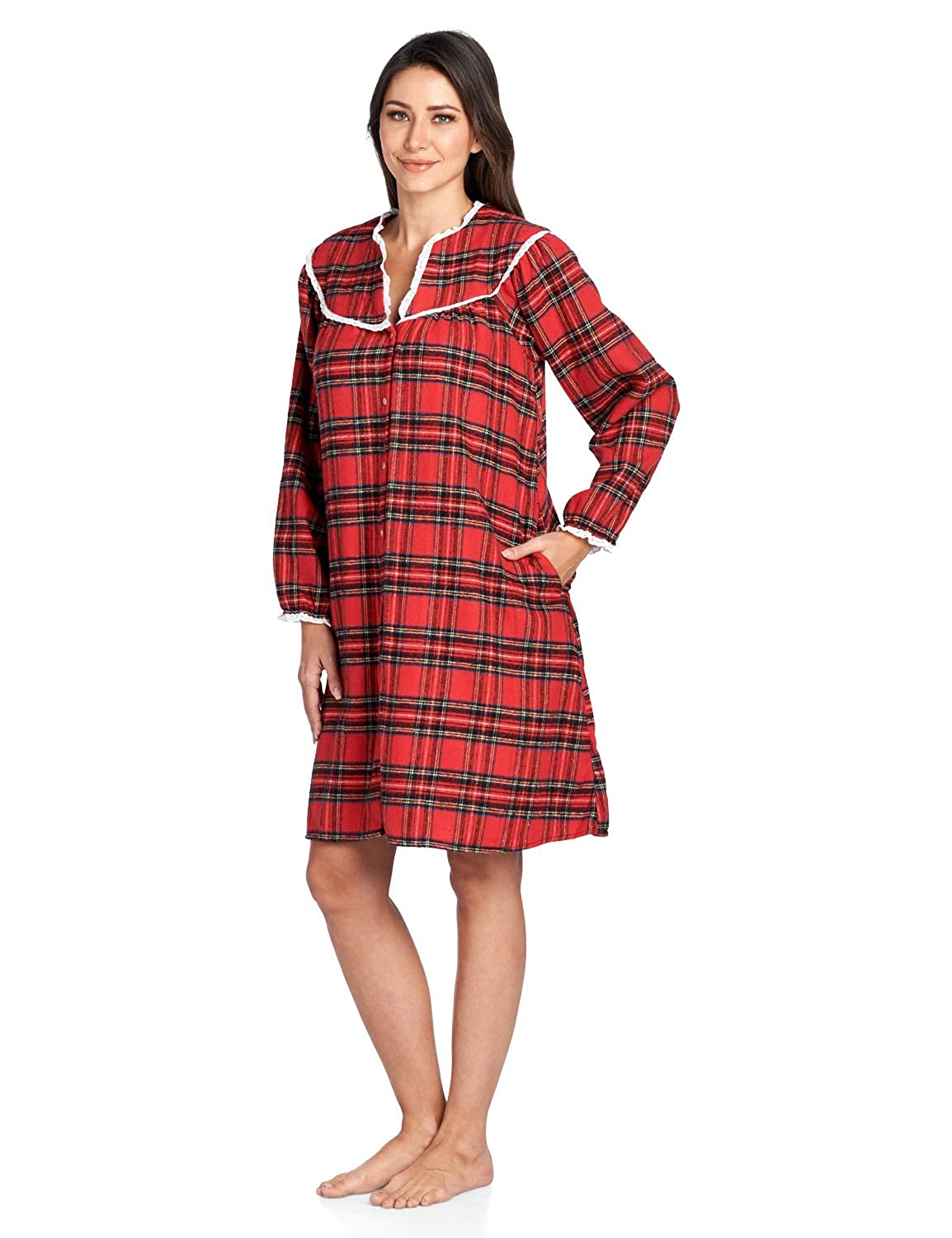 Ashford    Brooks Womens Flannel Plaid Long Sleeve Snap Front Lounge Duster  78269-FD d91dfeda0