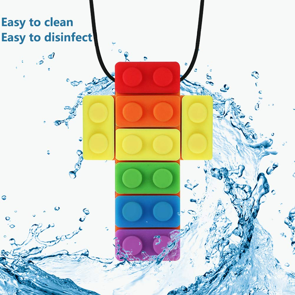 Sensory Chew Necklace,KEFU Rinbow Color Silicone Chew Pendant Training and Development Fidget Toy Chewing Necklace for Teething Babies, Autism ADHD SPD, Oral Motor, Anxiety, Autistic Children