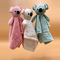 Zivaa Cotton Teddy Extra Soft Hand or Face Napkins Towels with Hanging Loop (Small Size, Assorted Colours) - Pack of 2