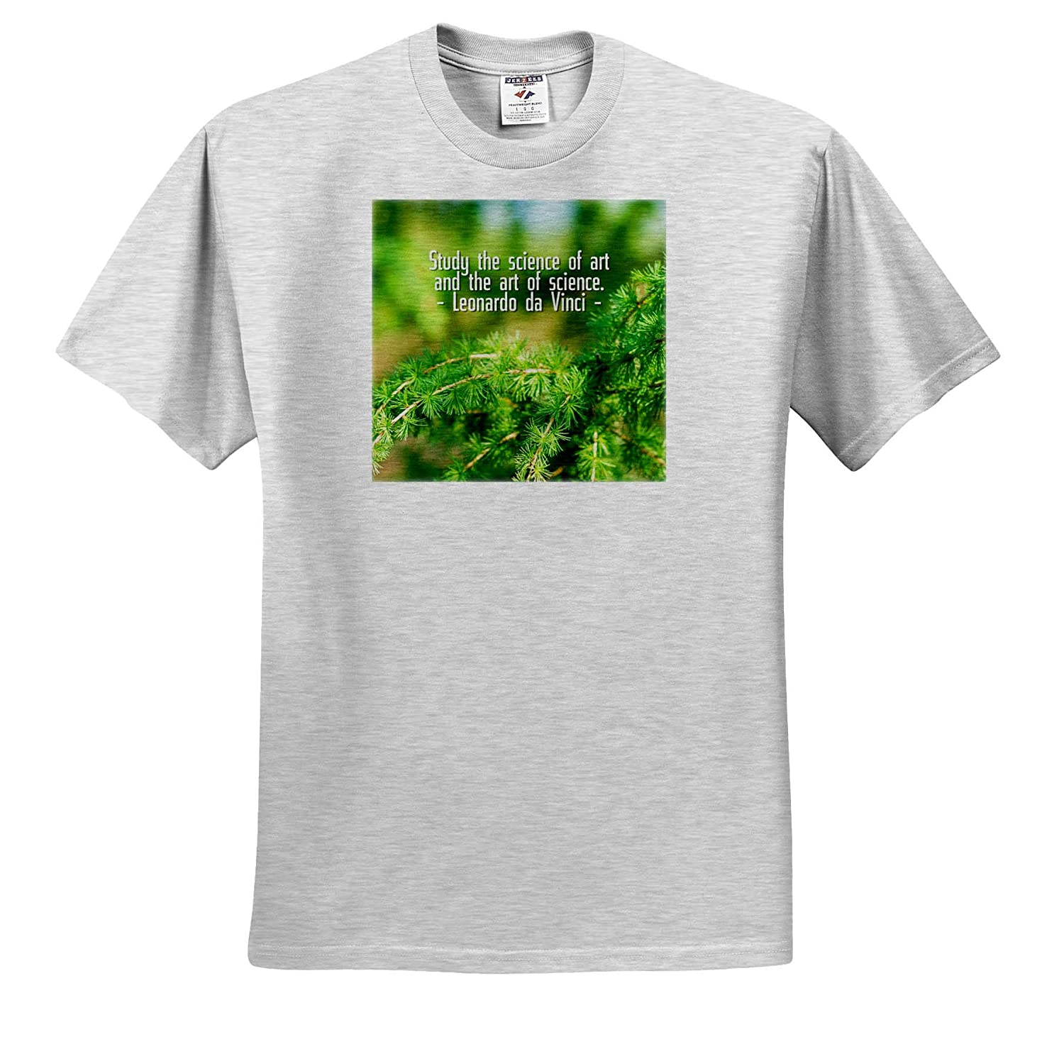 3dRose Alexis Design Quotes Leonardo da Vinci T-Shirts Study The Science of Art Fresh Green larix Tree da Vinci Quote