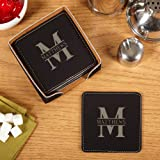 Oakmont Engraved Faux-Leather Coaster Set (Customizable Product)