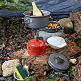 Urbenfit Camping Cookware Set with Gloves, Portable Lightweight Cookware Mess Kit Safety Outdoor Backpacking Gear for Camping Hiking Picnic Fun