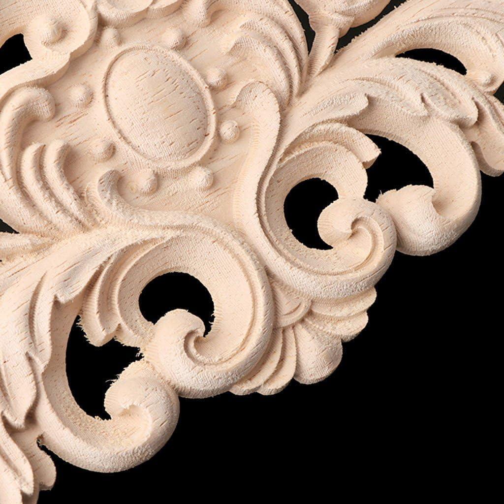 GROOMY Bois Sculpt/é Coin Onlay Applique Cadre D/écoration Mobilier Non Peint D/écor /À La Maison