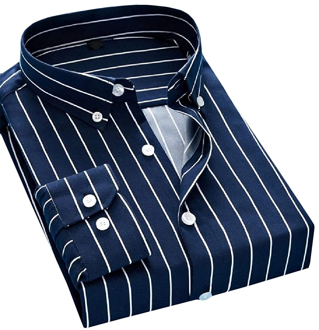 Adriat Mens Classical Striped Tops Long Sleeve Turn Down Button Up Shirts