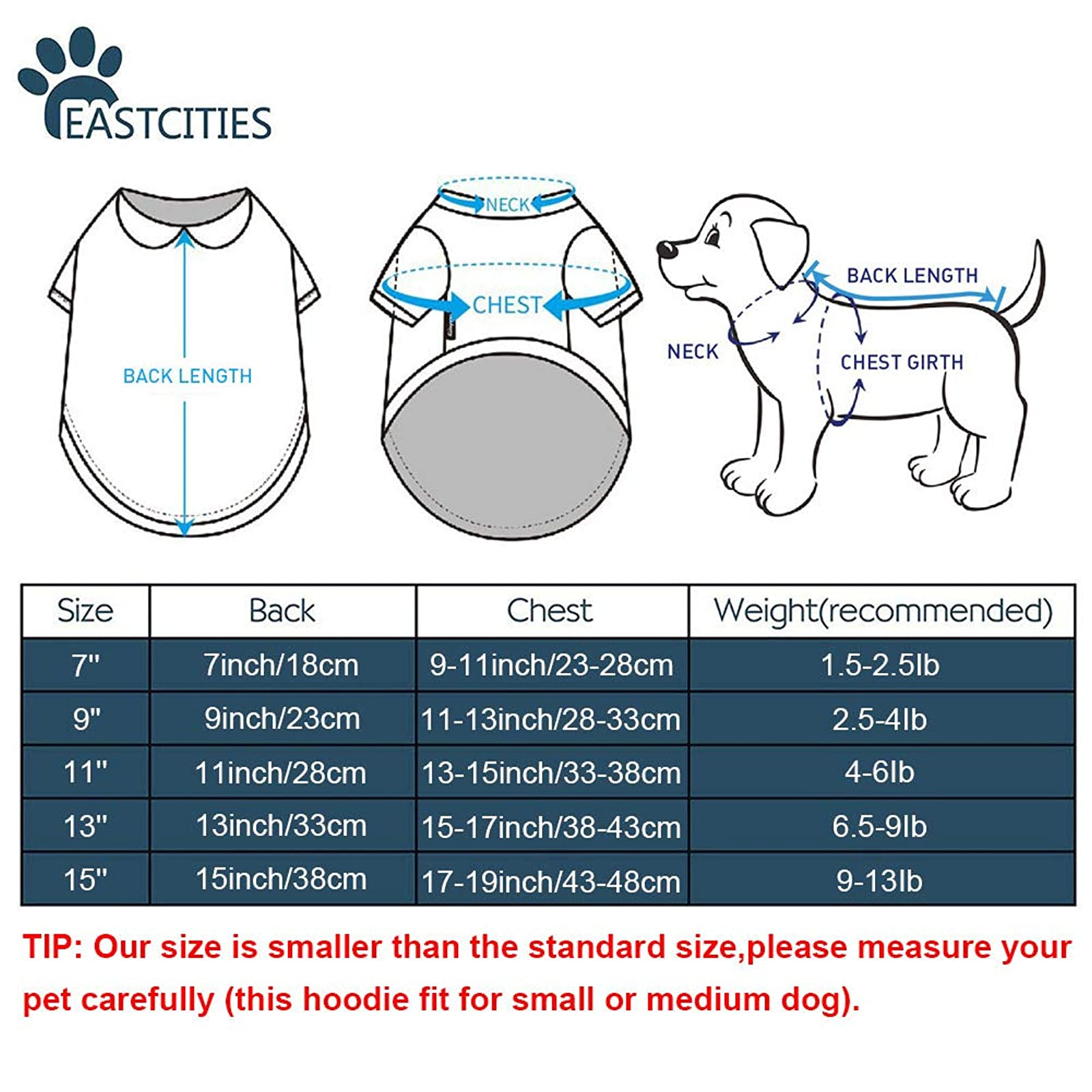 EastCities Pet SweatersSmall Dogs Cats Clothes Puppy - 2