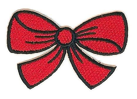 2,4 pulgadas x 1.7 pulgadas cinta de lazo rojo Cartoon Patch coser hierro bordado. Pasa ...