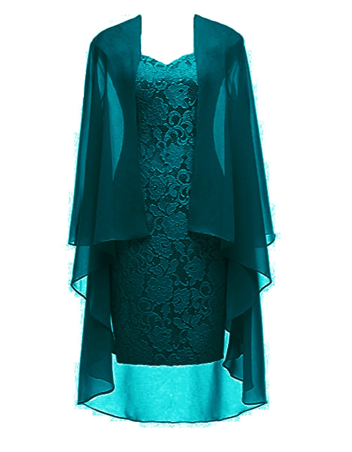 Teal Short Lace Mother of The Bride Dress with Jacket Formal Gowns Teal US 18W