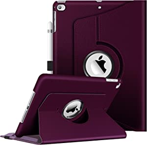 Fintie Case for iPad 9.7 2018 2017 / iPad Air 2 / iPad Air - 360 Degree Rotating Protective Stand Case Cover with Auto Sleep Wake for iPad 9.7 inch (6th Gen, 5th Gen) / iPad Air 2 / iPad Air, Purple
