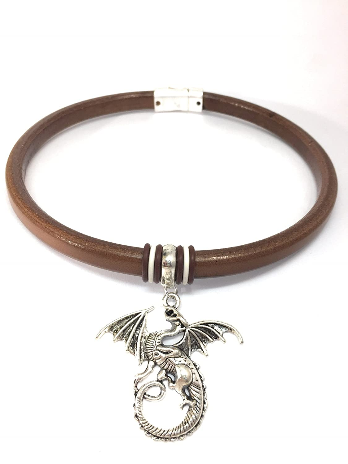 Handmade Brown Leather Choker with a Silver-Tone Dragon Pendant - DeluxeAdultCostumes.com