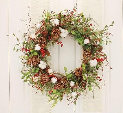 Amazon Com Farmhouse Cotton Ball Christmas Wreath Winter Door