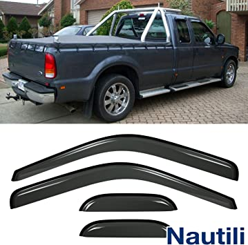 4pcs For 99-16 F250//350//450 SuperDuty Super//Extended Cab Guard Vent Window Visor