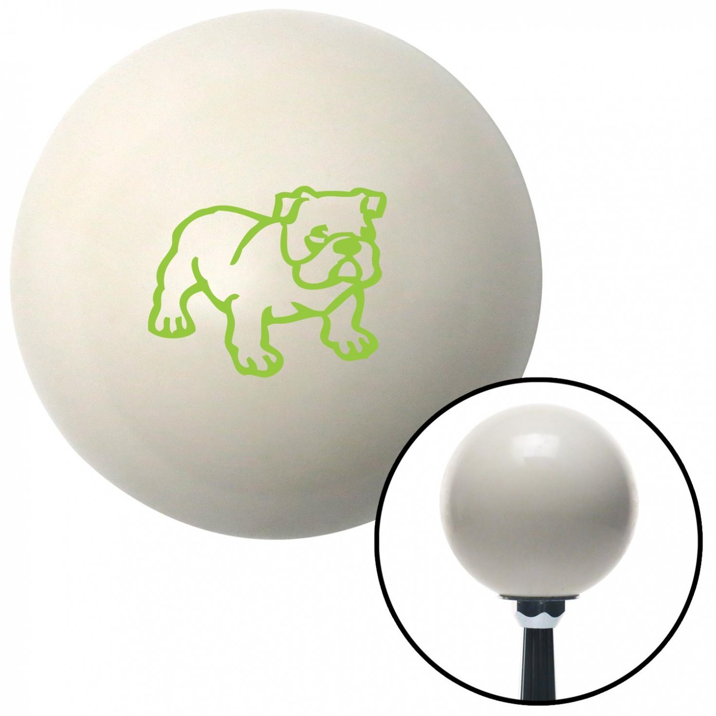 Green English Bulldog American Shifter 41148 Ivory Shift Knob with 16mm x 1.5 Insert
