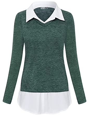 c26701b8971 Amazon.com  Miss Fortune Women s V-Neck Collar 2 in 1 Office Tunic Sweater   Clothing