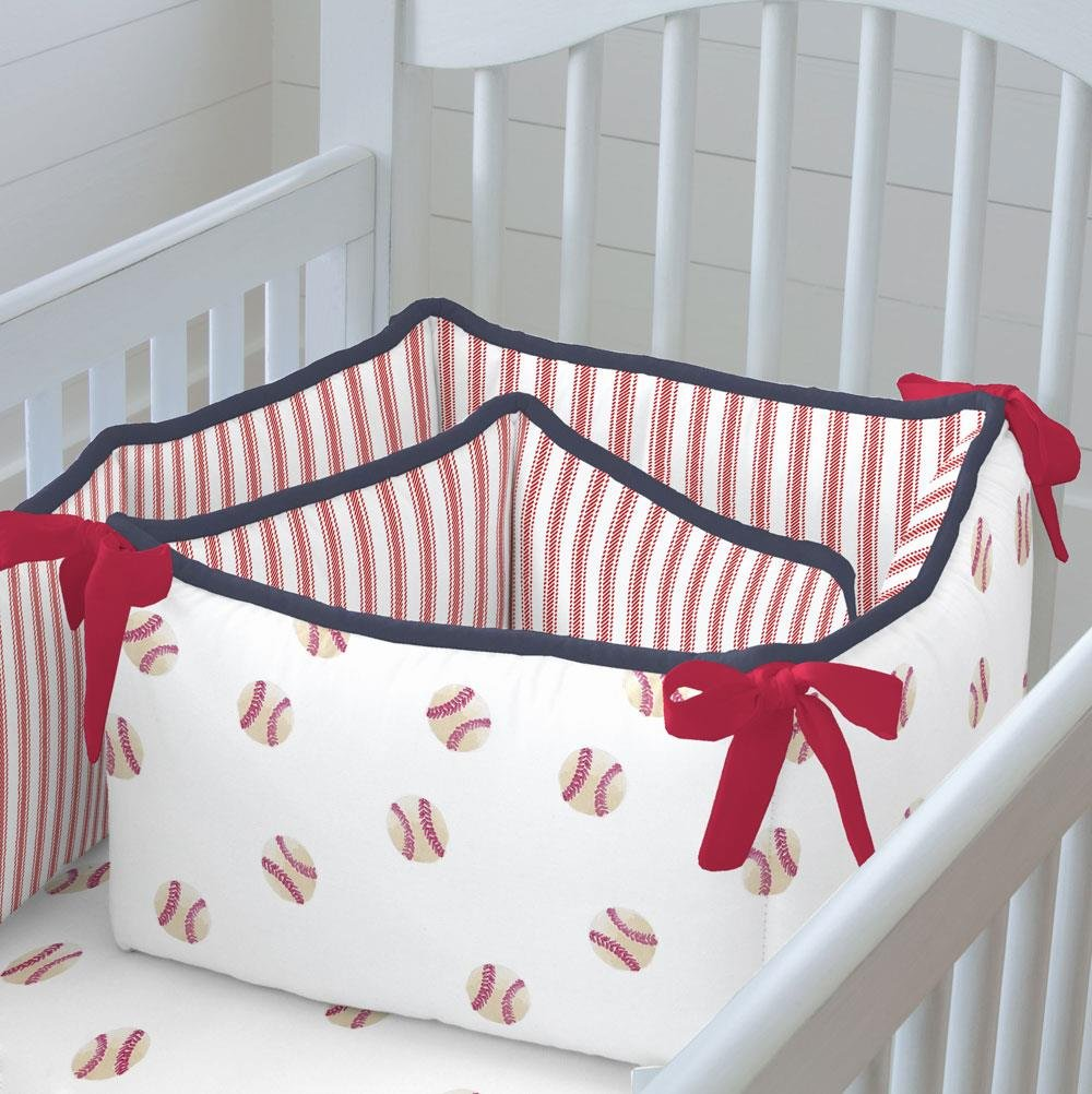 Carousel Designs Red and Navy Baseball Crib Bumper