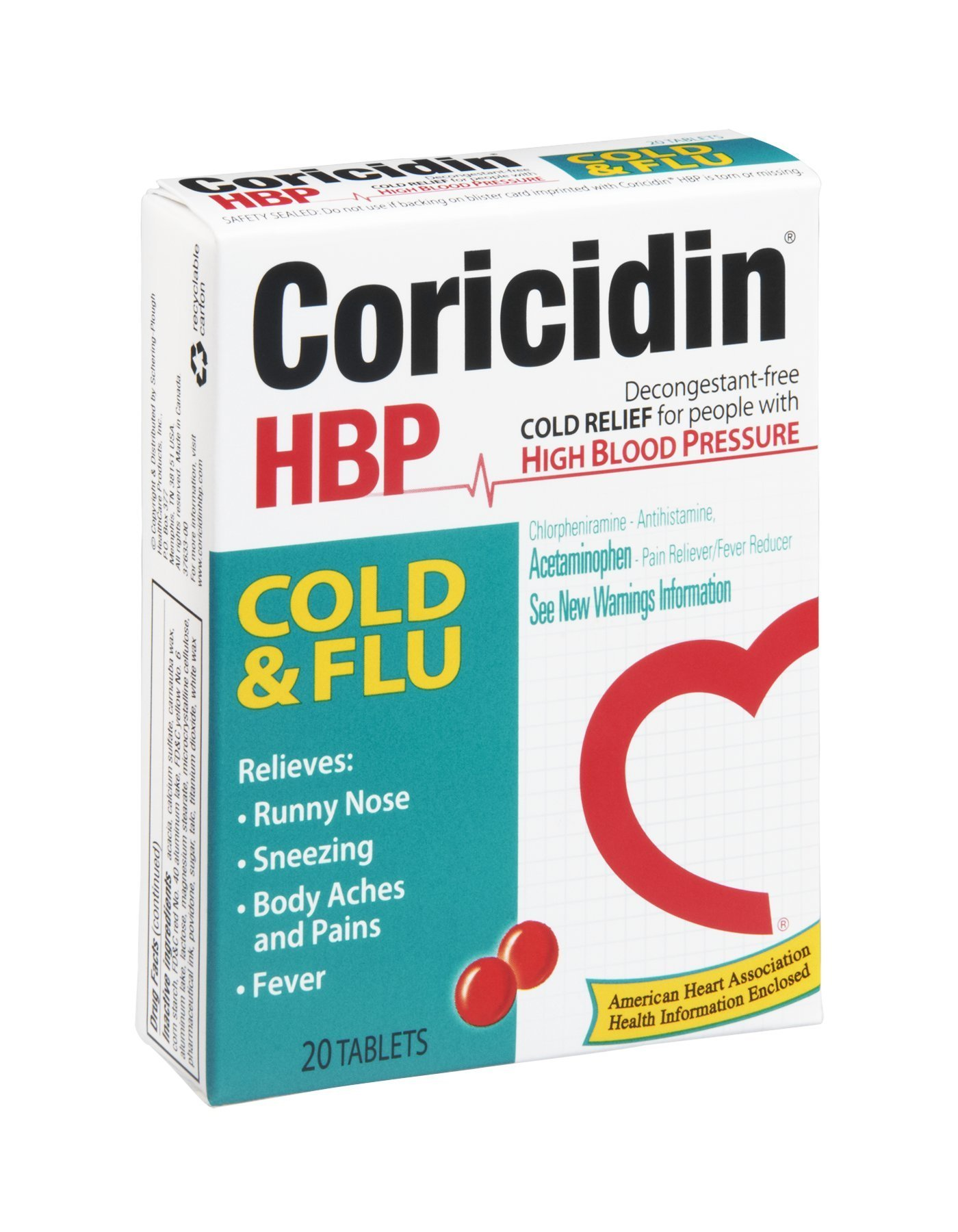 Coricidin HBP Cold & Flu Relief Tablets 20CT (Pack of 12)