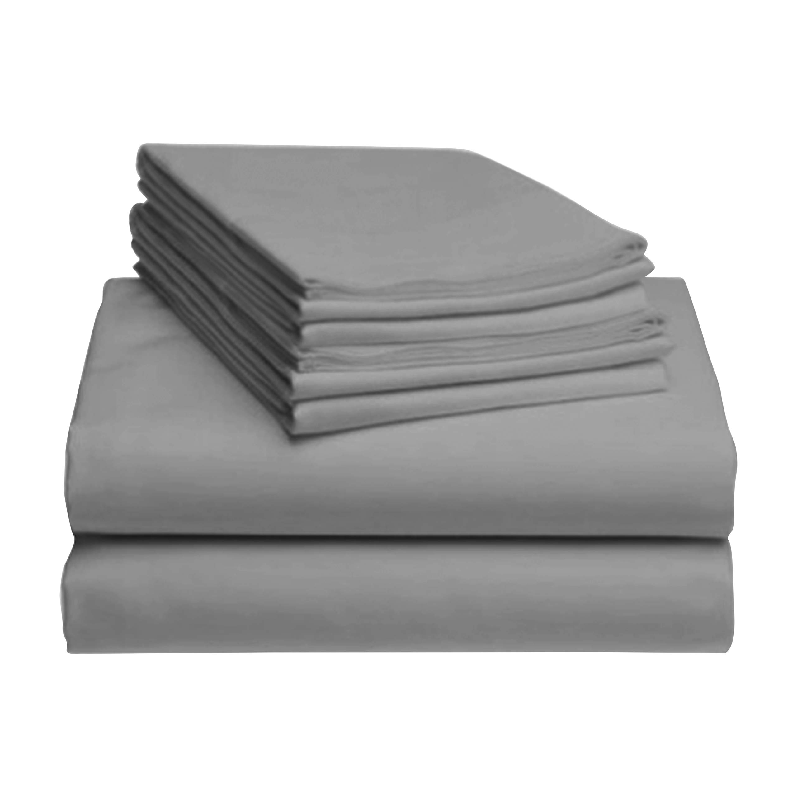 LuxClub 6 PC Sheet Set Bamboo Sheets Deep Pockets 18'' Eco Friendly Wrinkle Free Sheets Hypoallergenic Anti-Bacteria Machine Washable Hotel Bedding Silky Soft - Light Grey King