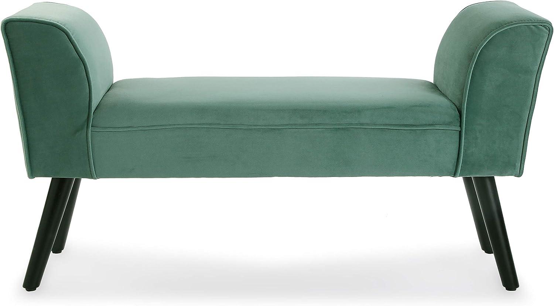Versa 19501393 Acquamarina Repose-Pieds de lit en Bois de pin et Tissu Velours 53 x 32 x 100 cm