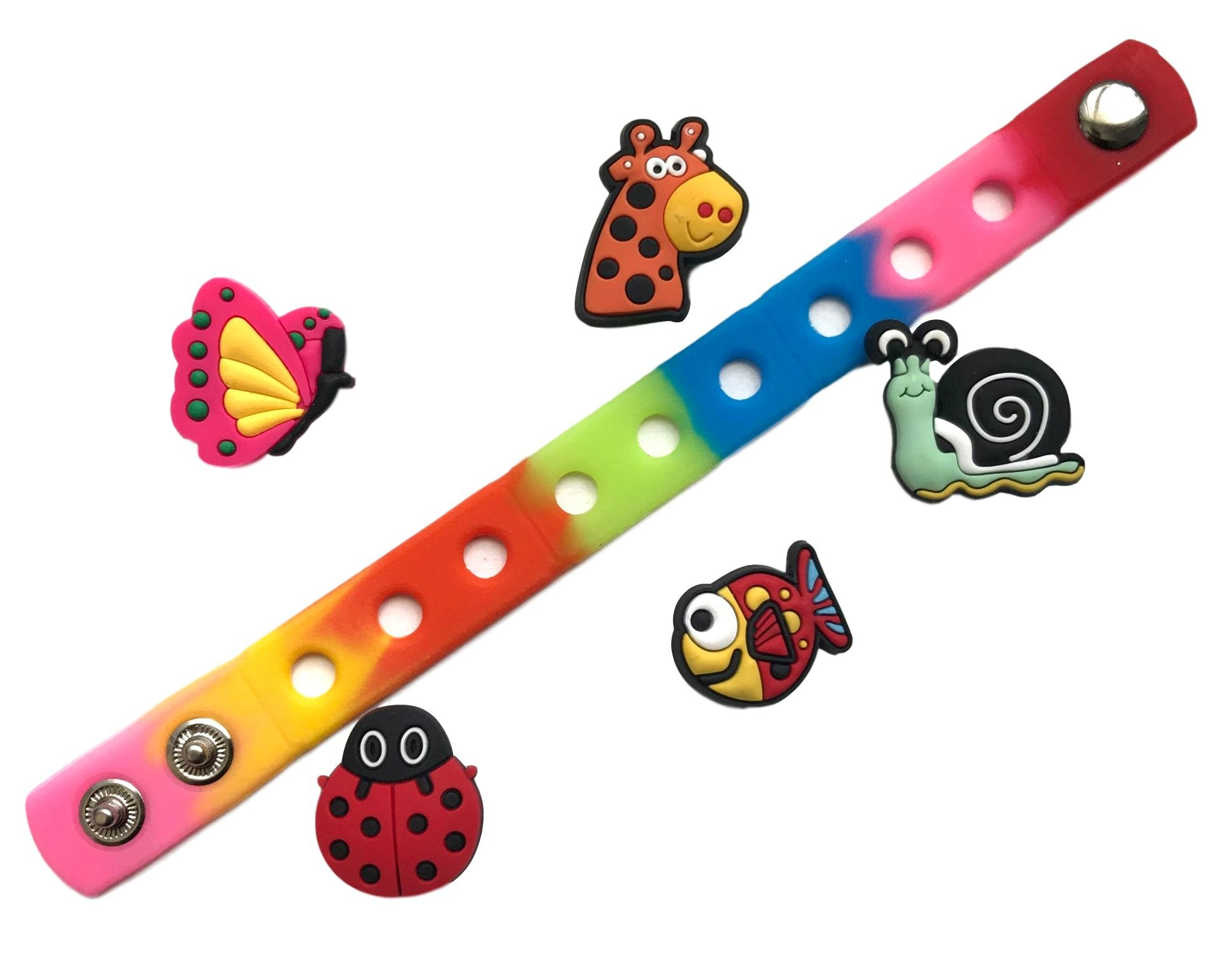 Cute Jibbitz Shoe Charms PVC Plug by Nenistore Accessories for Crocs Shoes & Bracelet Wristband Party Gifts   Animals (5 pcs) FREE 01 Silicone Wristband 7 Inches