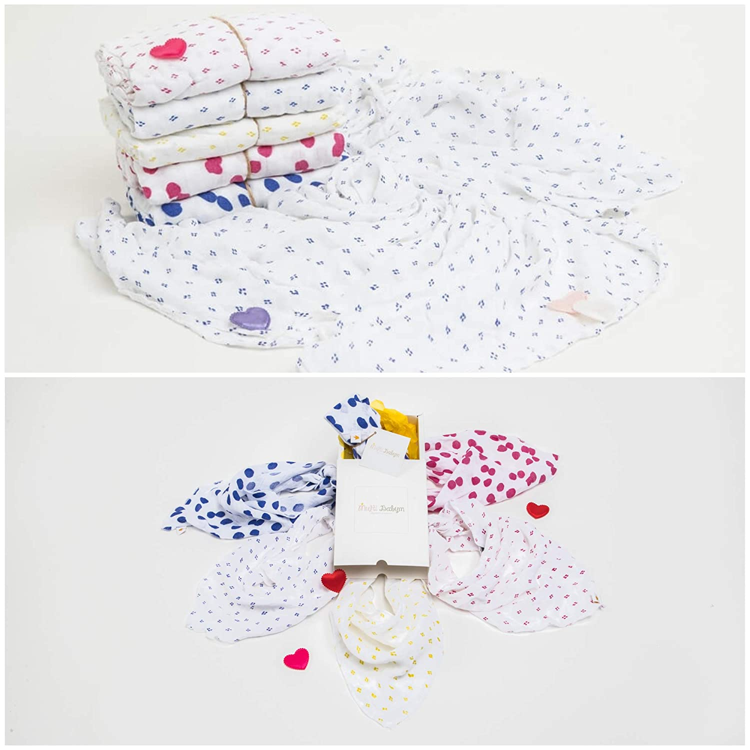 Small Crimson Red Dots Vintage Print Soft Natural Bamboo Swaddling Baby Blanket and Absorbant Bib Bandana Newborn Gift Set