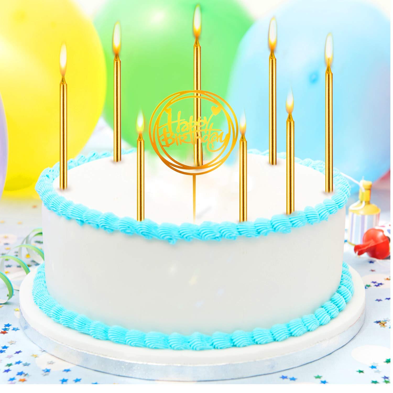 Buon Compleanno Acrilico Topper per Torte Compleanno Party Decor Honoson 30 Pezzi Oro Candele di Compleanno Lunghe Candele a Torta Sottile