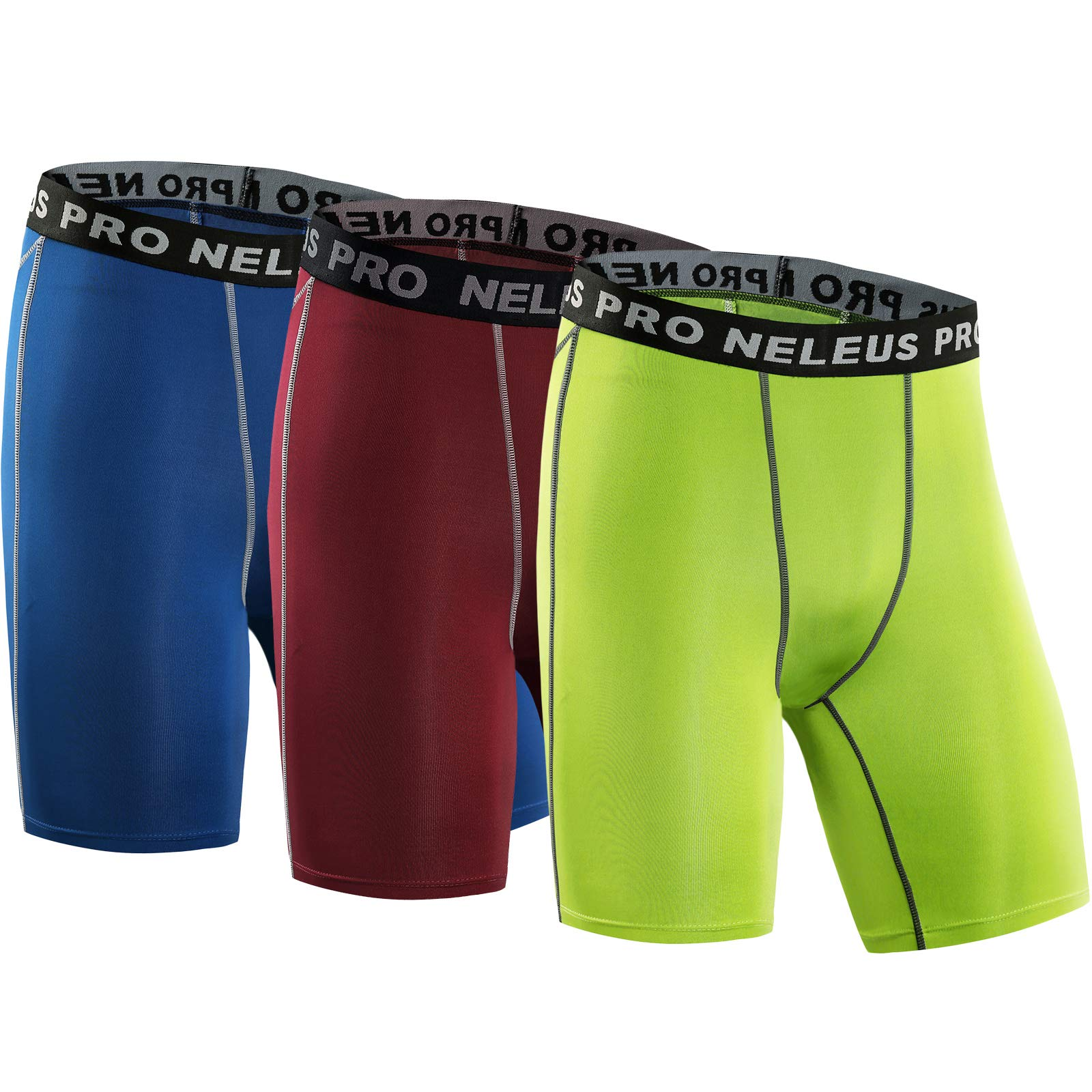 Neleus Men's 3 Pack Compression Short,047,Blue,Red,Green,US S,EU M by Neleus