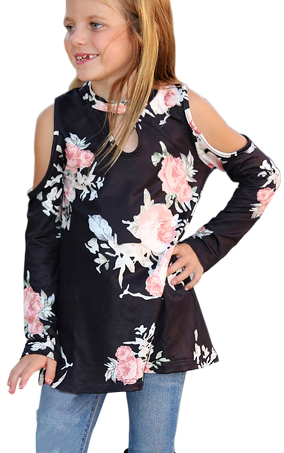 OAKBaby Mommy and Me Long Sleeve Loose Blouse Floral Printed Family Matching Outfits