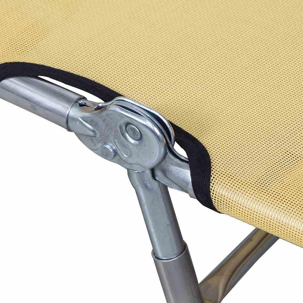 Dreibeinliege gelb 190x63 cm Aluminiumgestell: Alu-blank, Textil gelb