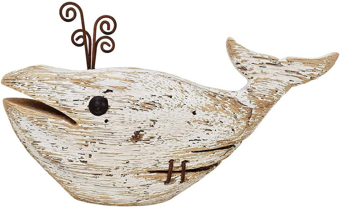 Rustic Wooden Whale Tabletop Statue, Rustic Wooden Decorative Whale Figurine Carving Sculpture, Wooden Whale Nautical Ocean Beach Coastal Themed Home Decor-8