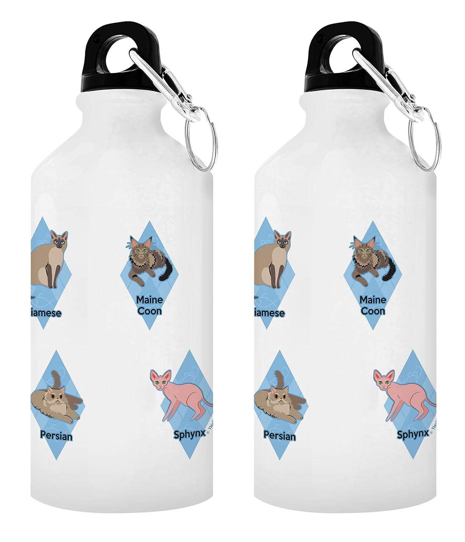 ユニークな猫ギフトCat BreedチャートCat水ボトル猫ギフトメンズの猫好き女性のためのギフト猫好きギフトアイデアペットギフトアルミニウムウォーターボトルキャップ&スポーツトップ B07C56V347 ホワイト 2