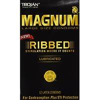 Trojan Magnum Ribbed Lubricated Condoms, 12 Count