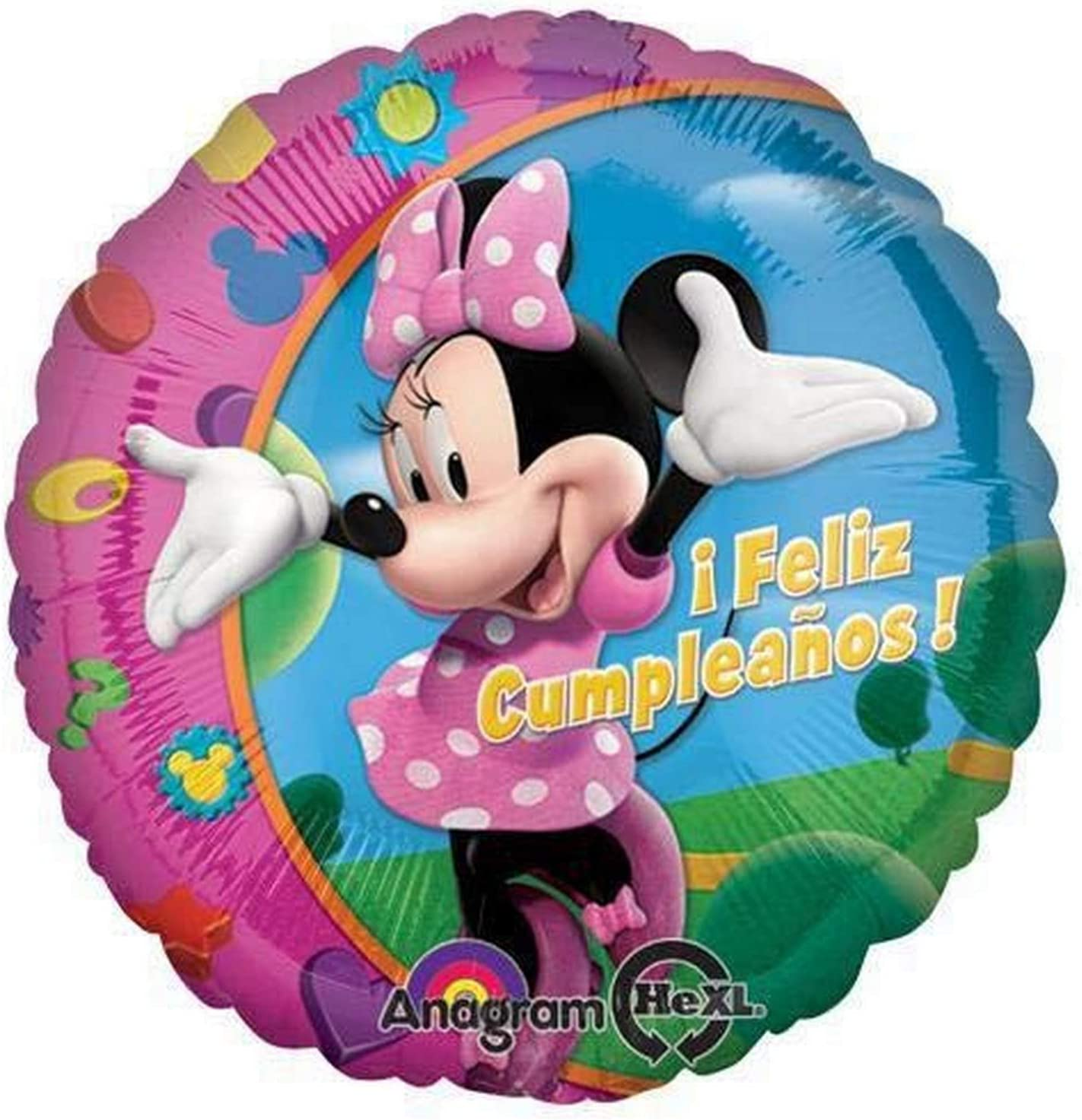 Multicolored Anagram Minnie Feliz Cumpleanos Foil Balloon 18