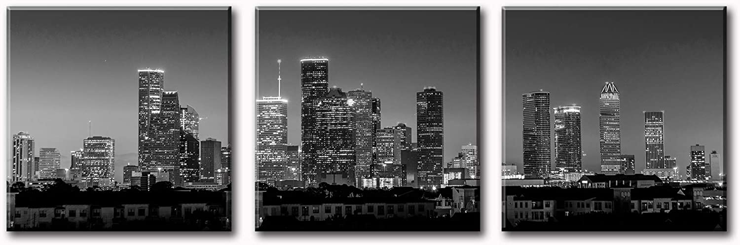 Houston Skyline Wall Art - Black and White Cityscape Panoramic Texas Texans Pictures Print on Canvas Decoration 3 Panel for Living Room Bedroom Office Bathroom Home Decor Stretched and Framed