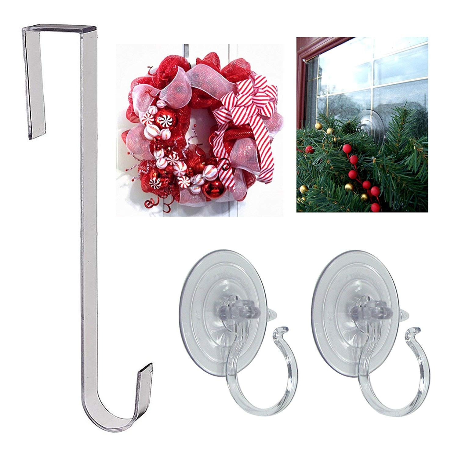 Door Wreath Hanger 12 Inch-Clear Plastic and 2 Giant Suction Cup with Loop Wreath & Swag Hooks - Window & Door Christmas Wreaths Hangers Bundle Collectibles and Video