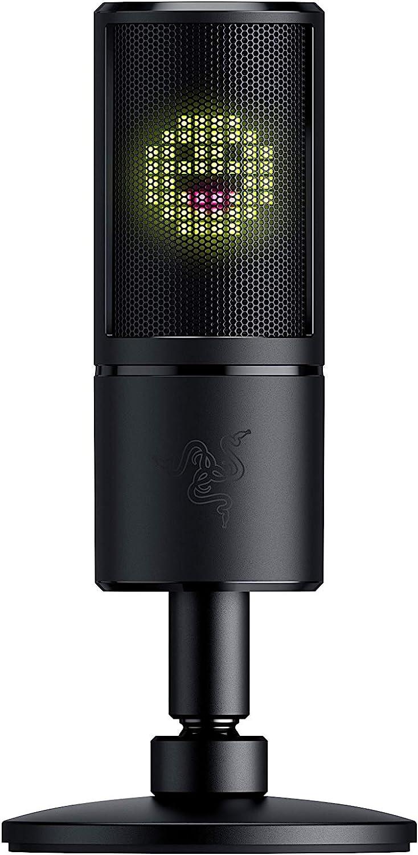Razer Seiren Emote - Micrófono de condensador USB para streaming con amortiguador de choque integrado, superniere grabadora y matriz LED Chroma de Razer: Amazon.es: Informática