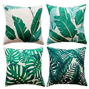 Tropical Leaves Throw Pillow Covers U-Love Cotton Linen Square Pillow Case 18 X 18 Inch,4 Pack (Plants-1)