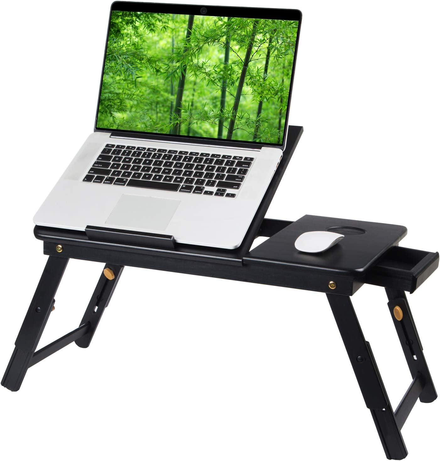 Bamboo Laptop Desk Tray,Breakfast Serving Bed Trays Table, Adjustable Foldable with Flip Top and Legs, Computer Stand with Drawer,Black