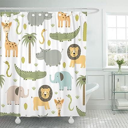 Emvency Shower Curtain Safari Animals With Cute Hippo Crocodile Lion Elephant And Giraffe In Childish Style