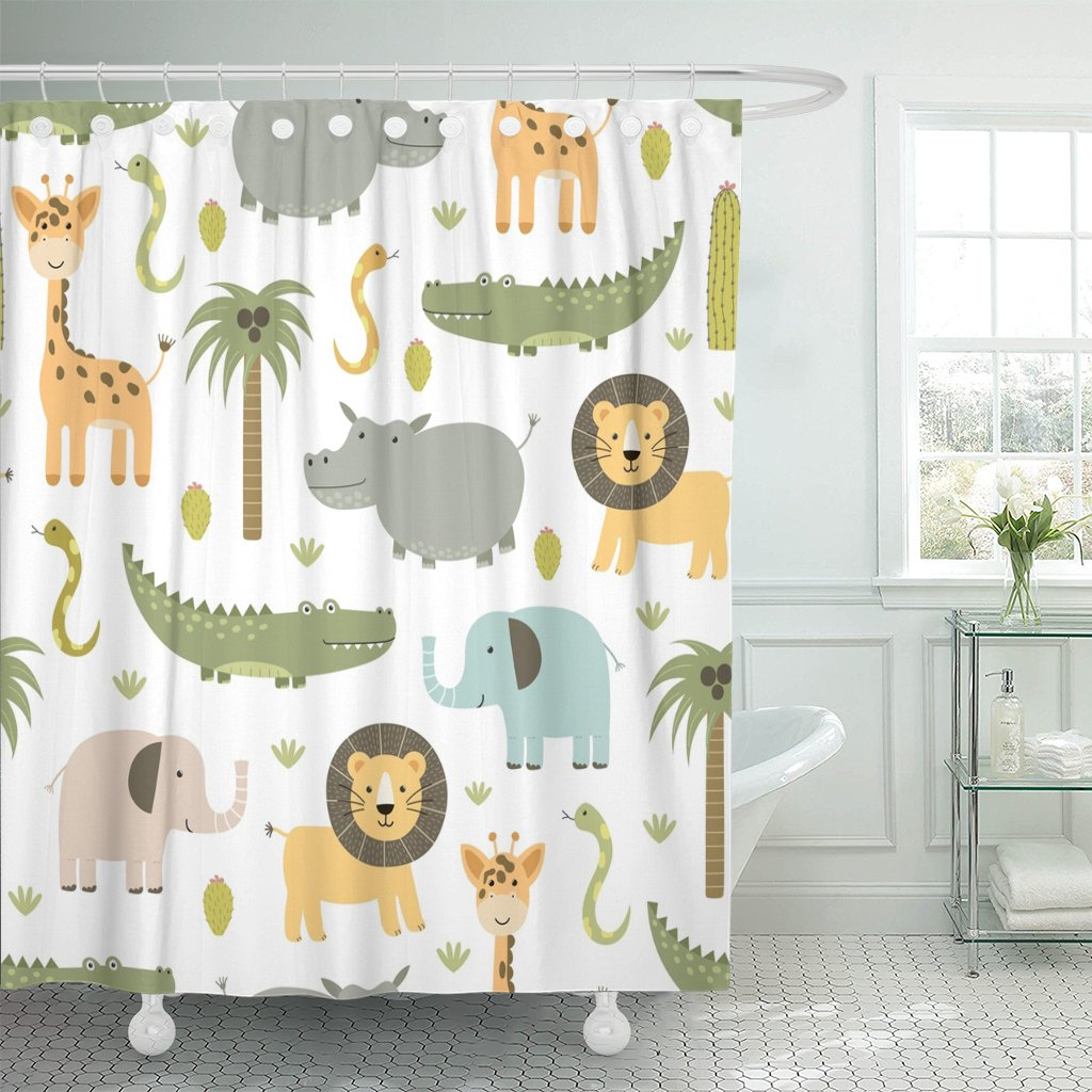 Emvency Shower Curtain Safari Animals with Cute Hippo Crocodile Lion Elephant and Giraffe in Childish Style Waterproof Polyester Fabric 72 x 72 inches Set with Hooks by Emvency