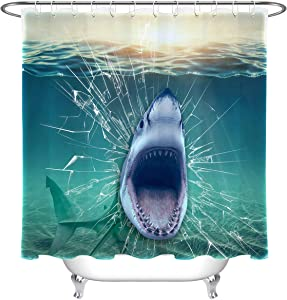 LB Shark Shower Curtain,3D Printing Shark Open Big Mouth Horrible Scene Ocean Shower Curtain for Kids Waterproof Fabric 72x72 Inches with Hooks