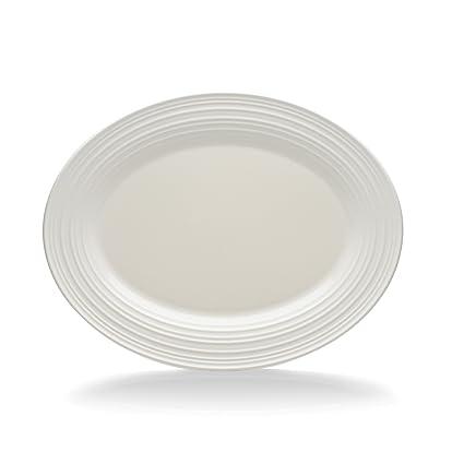 Mikasa Swirl White Oval Serving Platter 14 Inch By Mikasa