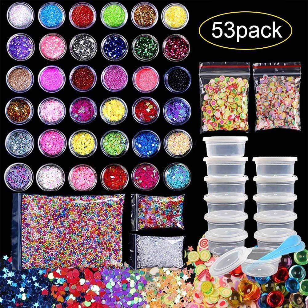 53pack DIY Boule De Mousse Coloré Boue en Polymère De Polymère Perles Plates Paillettes Douces Céramique Comprimés pour Chrildren et Adulte